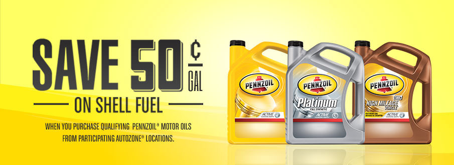 Save 50¢/gal on Shell fuel when you purchase qualifying Pennzoil<sup>®</sup> Motor Oils from participating Autozone<sup>®</sup> locations.